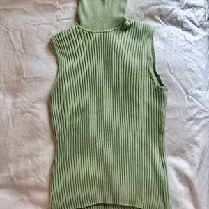 Preppy Knitted Turtleneck Sleeveless Top